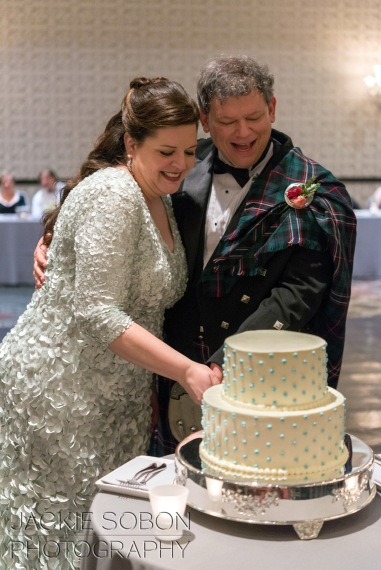 Cutting the bride's cake