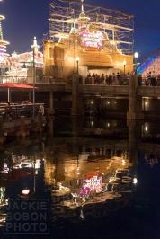 Paradise Pier under construction reflection