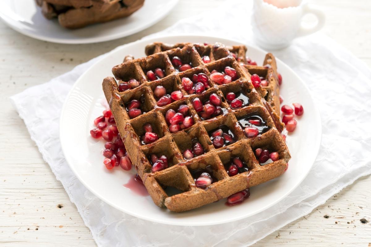 Buckwheat Maca Waffles with Pomegranate Syrup