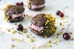 Inside photo of Double Chocolate Cherry Ice Cream Sandwiches for VegNews