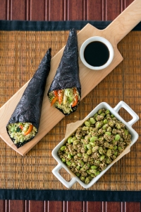 Sushi Roll and Amaranth-Crusted Edamame from Superfoods 24/7