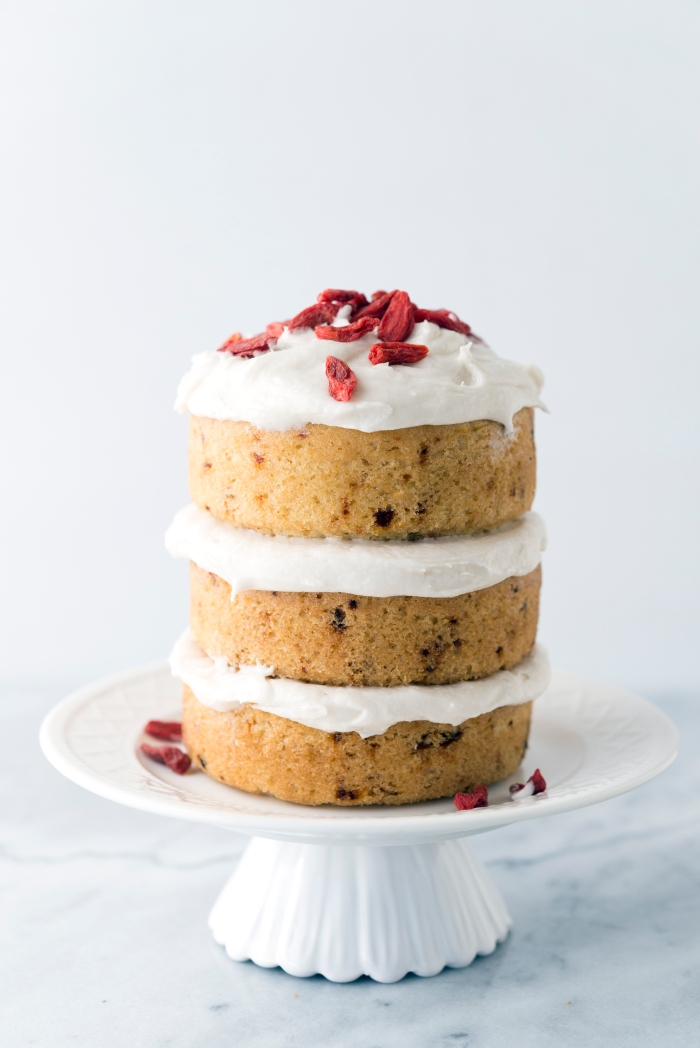 Goji Chip Cake with Coconut Frosting