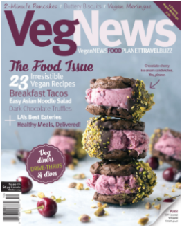 Cover Image of Double Chocolate Cherry Ice Cream Sandwiches for VegNews - Sept/Oct 2015 Issue