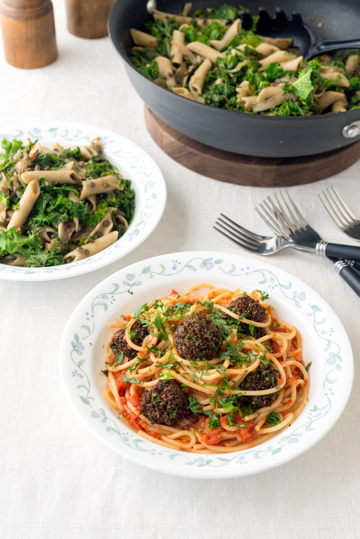 Spaghetti with Quinoa Meatballs & Penne with Olives and Kale