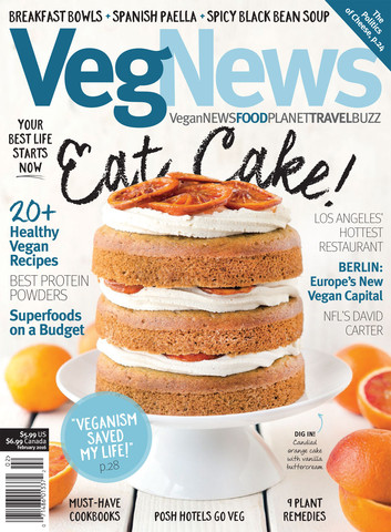 Cover Image for January/February 2016 Issue of VegNews Magazine