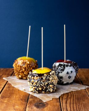 Caramel Apple Trio from Sept + Oct 2018 issue of VegNews Magazine