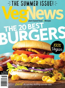 Burger Feature Cover for July + Aug 2018 cover of VegNews Magazine