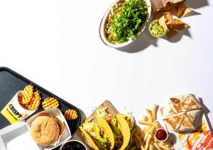 Assortment of fast food on a white background